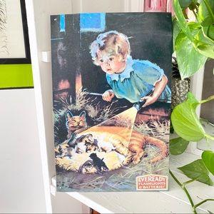 Vintage Cat Advertisement Metal Sign Picture 1993